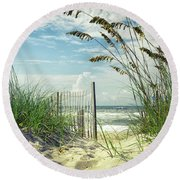 To The Beach Sea Oats Round Beach Towel
