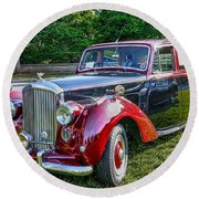 Classic Bentley In Red Round Beach Towel