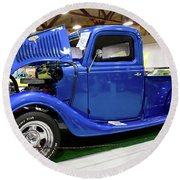 Classic Blue Ford Truck Round Beach Towel