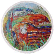 Classic Car Round Beach Towel