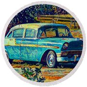 Round Beach Towel featuring the digital art Classic Car On An Old Dirt Road by David Mckinney