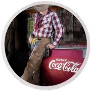 Classic Coca-cola Cowboy Round Beach Towel