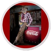 Round Beach Towel featuring the photograph Classic Coca-cola Cowboy by James Sage