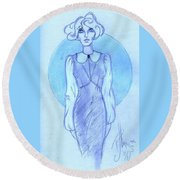 Round Beach Towel featuring the drawing Classic Fitted Jumper by P J Lewis