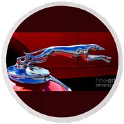 Classic Ford Greyhound Hood Ornament Round Beach Towel