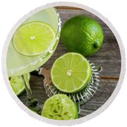 Round Beach Towel featuring the photograph Classic Lime Margarita by Teri Virbickis