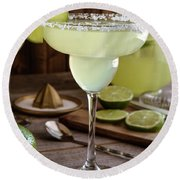 Round Beach Towel featuring the photograph Classic Lime Margaritas On The Rocks by Teri Virbickis