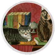 Classic Literary Cats Round Beach Towel