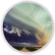 Classic Nebraska Shelf Cloud 024 Round Beach Towel