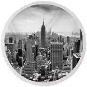 Classic New York  Round Beach Towel by Az Jackson