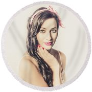 Round Beach Towel featuring the photograph Classic Old Style Pin-up Girl by Jorgo Photography - Wall Art Gallery