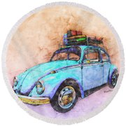 Classic Road Trip Ride Watercolour Sketch Round Beach Towel