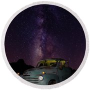 Classic Truck Under The Milky Way Round Beach Towel