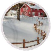 Round Beach Towel featuring the photograph Classic Vermont Barn by Rod Best