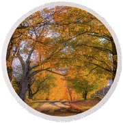 Classic Vermont Fall Round Beach Towel