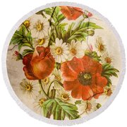 Classic Vintage Shabby Chic Rustic Poppy Bouquet Round Beach Towel