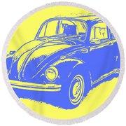 Classic Vw Beetle Tee Blue Ink Round Beach Towel