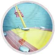 Classic Wooden Boat Stern With Flag 2.0 Round Beach Towel