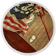 Classic Wooden Boat Stern With Flag Round Beach Towel