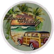 Classic Woody Round Beach Towel