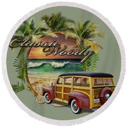 Classic Woody Round Beach Towel