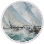 Classic Yacht  Twixt Wind And Water Round Beach Towel