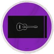 Classical Guitar In Purple Round Beach Towel