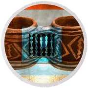 Round Beach Towel featuring the digital art Classsic Designs Of The Southwest by David Lee Thompson