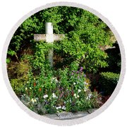 Claude Monet Grave In Giverny Round Beach Towel