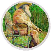 Claude Monet In His Garden Round Beach Towel