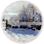 Claude Monet: The Magpie Round Beach Towel