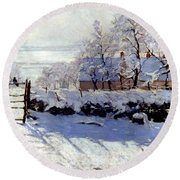 Claude Monet The Magpie - To License For Professional Use Visit Granger.com Round Beach Towel