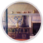 Round Beach Towel featuring the photograph Claude Monet's Kitchen by John Rivera