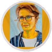 Claudia-portrait Round Beach Towel