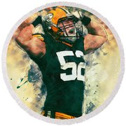 Clay Matthews Round Beach Towel