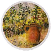 Clay Pot In The Garden Round Beach Towel by Lou Ann Bagnall