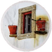 Round Beach Towel featuring the photograph Clay Pots In A Portuguese Village by Marion McCristall