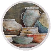 Round Beach Towel featuring the painting Clay Pottery Still Lifes-a by Jean Plout