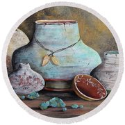 Round Beach Towel featuring the painting Clay Pottery Still Lifes-b by Jean Plout