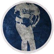 Clayton Kershaw Los Angeles Dodgers Art Round Beach Towel