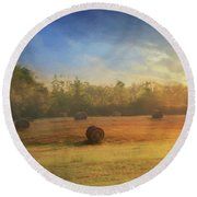 Clayton Morning Mist Round Beach Towel