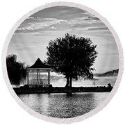 Claytor Lake Gazebo - Black And White Round Beach Towel