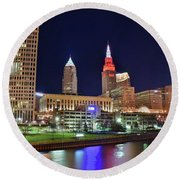 Round Beach Towel featuring the photograph Cle Over The Cuyahoga by Frozen in Time Fine Art Photography