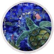 Round Beach Towel featuring the digital art Clean Oceans Sea Turtle Art by Nola Lee Kelsey