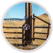 Clean Power And Old Ranch Gates Round Beach Towel
