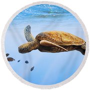 Clear Blue Round Beach Towel