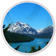 Clear Blue Lower Two Med Lake Round Beach Towel