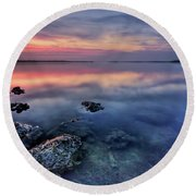 Clear Blue Morning Round Beach Towel