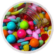 Clear Jar Spilling Candy Round Beach Towel