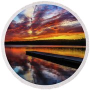 Clear Lake At Sunset. Riding Mountain National Park, Manitoba, Canada. Round Beach Towel